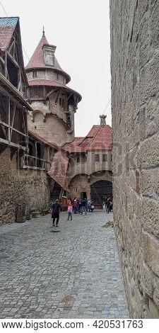 Leobendorf, Austria - May 11, 2019: This The Passage To Citadel In The Medieval Kreuzenstein Castle.