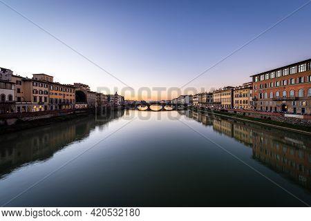 Arno River And The Ponte Santa Trinita, (holy Trinity Bridge, Xvi Century) View From The Ponte Vecch