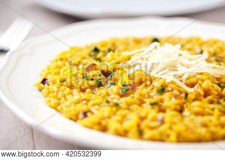 Dish Of Delicious Saffron Risotto, Italian Food
