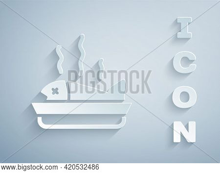 Paper Cut Served Fish On A Plate Icon Isolated On Grey Background. Paper Art Style. Vector