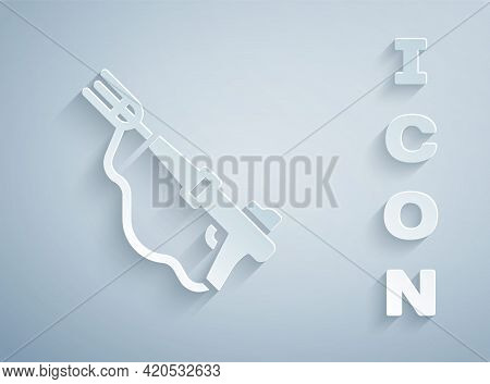 Paper Cut Fishing Harpoon Icon Isolated On Grey Background. Fishery Manufacturers For Catching Fish