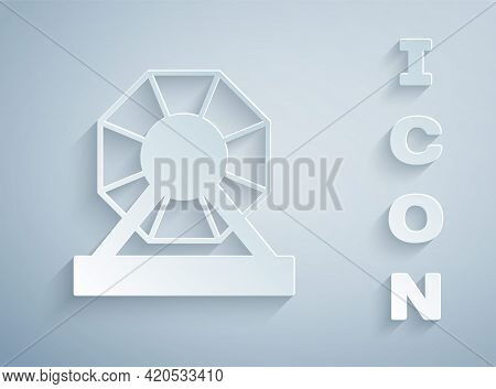 Paper Cut Lottery Machine Icon Isolated On Grey Background. Lotto Bingo Game Of Luck Concept. Wheel