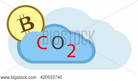 Bitcoin Carbon Footprint Concept. The Concept Of Cryptocurrency And Environmental Damage. Bitcoin Is