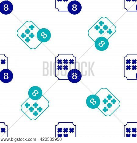Blue Bingo Or Lottery Ball On Bingo Card With Lucky Numbers Icon Isolated Seamless Pattern On White