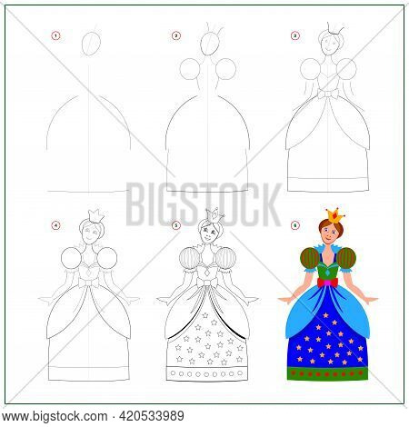 Page Shows How To Learn To Draw Step By Step Beautiful Toy Princess. Developing Children Skills For