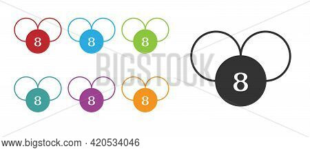 Black Bingo Or Lottery Ball On Bingo Card With Lucky Numbers Icon Isolated On White Background. Set