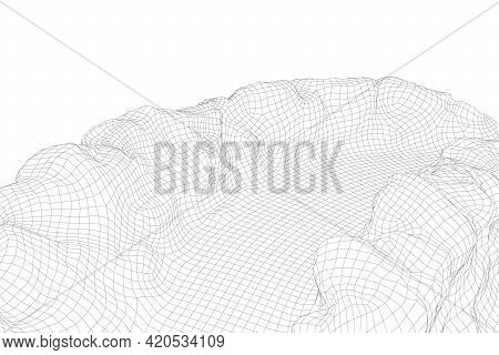 Abstract Vector Wireframe Landscape Background. 3d Futuristic Mesh Mountains. 80s Retro Illustration