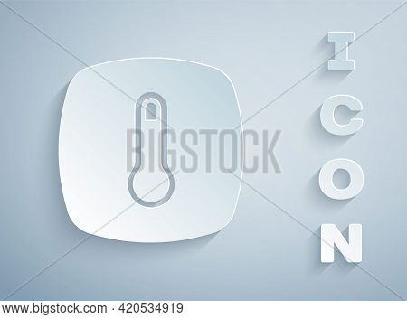 Paper Cut Thermostat Icon Isolated On Grey Background. Temperature Control. Paper Art Style. Vector