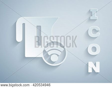 Paper Cut Smart Electric Kettle System Icon Isolated On Grey Background. Teapot Icon. Internet Of Th