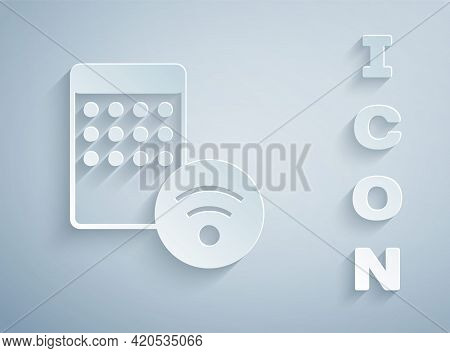 Paper Cut Air Humidifier Icon Isolated On Grey Background. Portable Electric Home Appliance, Home Ai