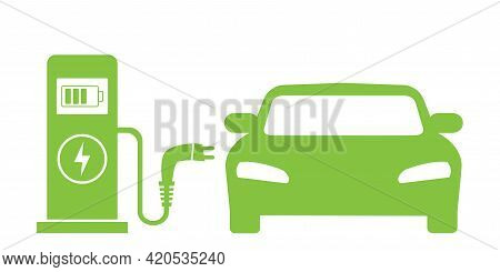 Electrical Charging Station Concept. Car Electric Charge. Icon Of Vehicle Charge Station. Symbol Of