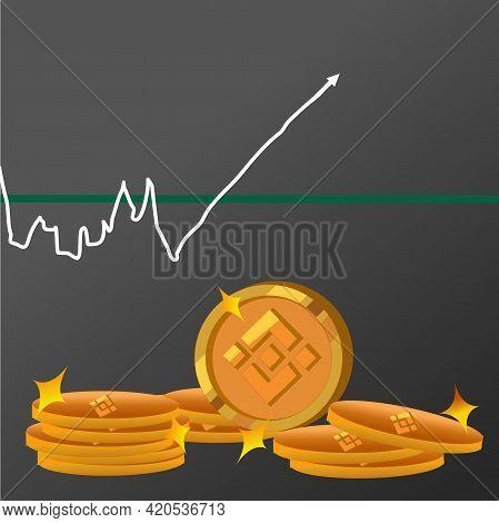 Binance Crypto Currency ,crypto Art Show Arrow High Index On Graph, Space Art Design.