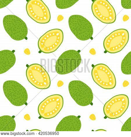 Jackfruit Whole And Cut In Half Cute Cartoon Style Vector Seamless Pattern Background For Tropical F