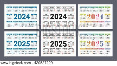 Calendar 2024 And 2025 Years. English Colorful Vector Set. Horizontal Wall Or Pocket Calender Templa