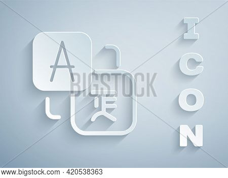 Paper Cut Translator Icon Isolated On Grey Background. Foreign Language Conversation Icons In Chat S