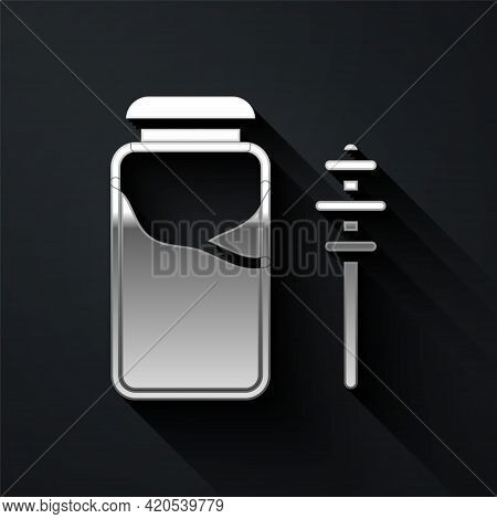 Silver Jar Of Honey And Honey Dipper Stick Icon Isolated On Black Background. Food Bank. Sweet Natur