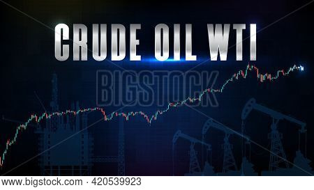 Abstract Background Of Blue Wti Crude Oil Stock Market Trading And Market Graph Candlestick Green Re