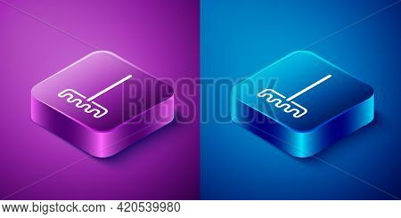 Isometric Garden Rake Icon Isolated On Blue And Purple Background. Tool For Horticulture, Agricultur