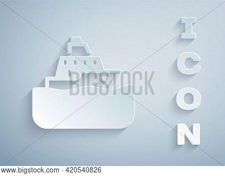 Paper Cut Cruise Ship Icon Isolated On Grey Background. Travel Tourism Nautical Transport. Voyage Pa