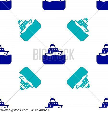 Blue Cruise Ship Icon Isolated Seamless Pattern On White Background. Travel Tourism Nautical Transpo