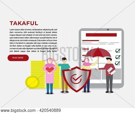 A Vector Of Takaful Concept. Tablet For Online Sign Up. Women Holding Heart For Get Medical Coverage