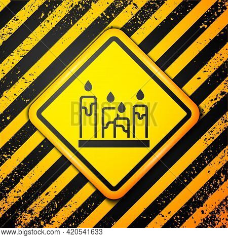 Black Burning Candle Icon Isolated On Yellow Background. Cylindrical Aromatic Candle Stick With Burn