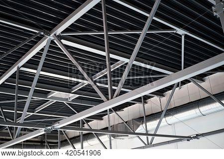 Industrial Roof Steel Frame Construction Lightweight Steel Frame Building Ventilation Tube On Backgr