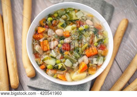 Minestrone Soup On A Plate. High Quality Photo.