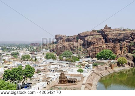 Badami Karnataka India On 8th April 2016 :aerial View From Badami Cave Temple, Badami, Karnataka, In