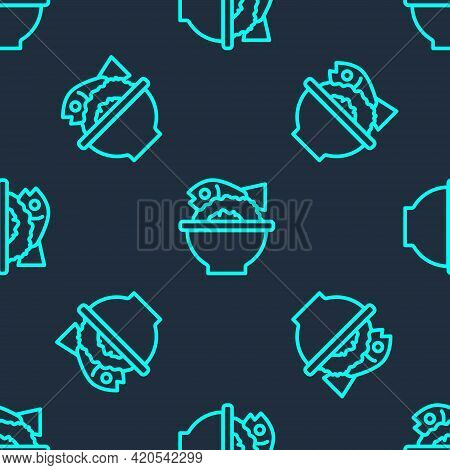 Green Line Served Fish On A Bowl Icon Isolated Seamless Pattern On Blue Background. Vector