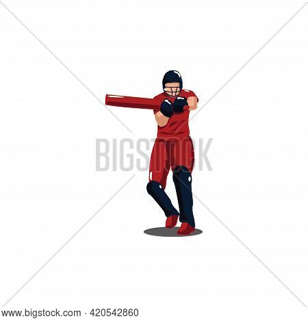 Cricket Athlete Pose To Hit The Ball On Cricket Game - Sport Man Cartoon Pose To Hit The Ball Isolat