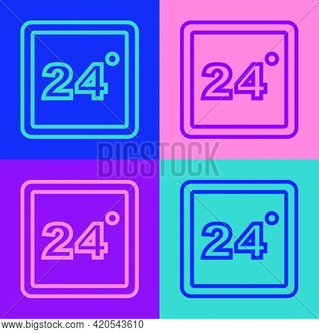 Pop Art Line Thermostat Icon Isolated On Color Background. Temperature Control. Vector