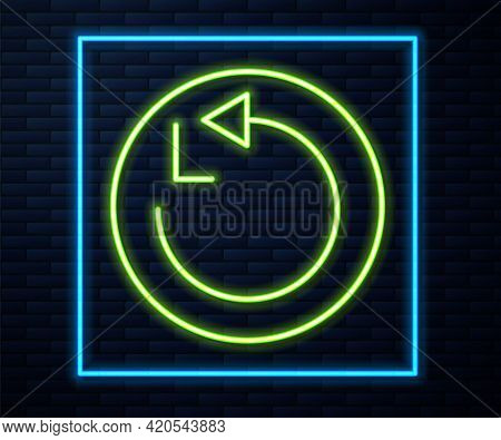 Glowing Neon Line Radius Icon Isolated On Brick Wall Background. Vector