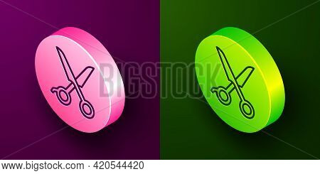 Isometric Line Scissors Hairdresser Icon Isolated On Purple And Green Background. Hairdresser, Fashi