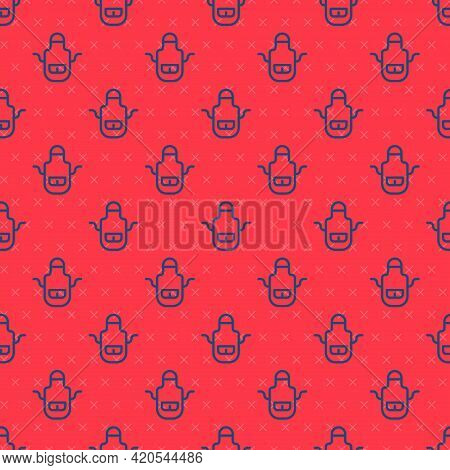 Blue Line Barber Apron Icon Isolated Seamless Pattern On Red Background. Apron Of A Hairdresser With