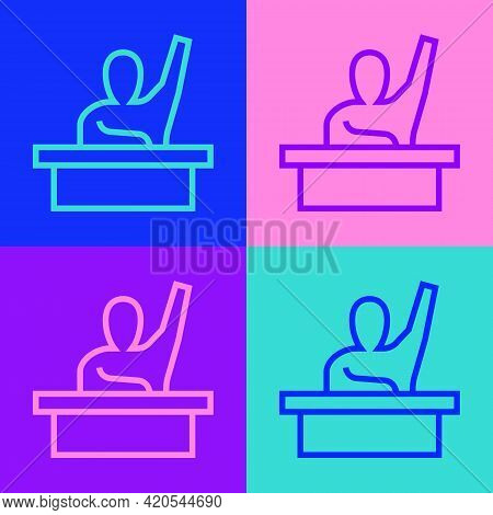 Pop Art Line Active Male Kid Raising Hand Answering To Teacher Question Icon Isolated On Color Backg