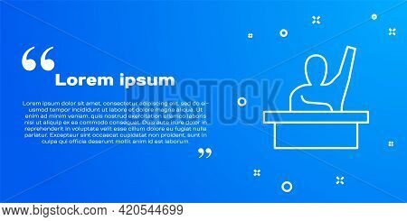 White Line Active Male Kid Raising Hand Answering To Teacher Question Icon Isolated On Blue Backgrou