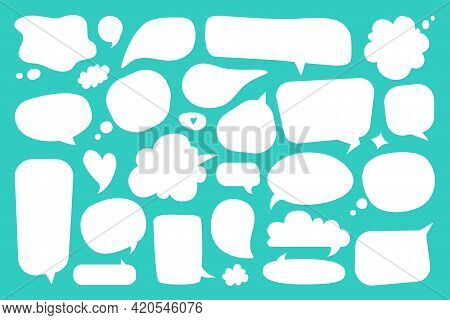 Blank Speech Bubble. White Empty Comic Dialog And Thought Balloons, Cute Hand Drawn Doodle Cartoon C