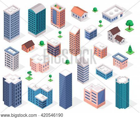 Buildings 3d. Isometric Modern Urban Building, Skyscraper, Residential House, Apartment, Office, Sho