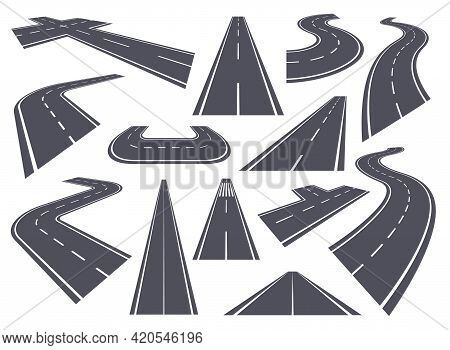 Curved Roads. Perspective Highway, Bending Or Winding Road, Straight And Curve Pathway. Asphalt City