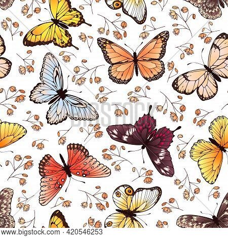 Butterfly Seamless Pattern. Butterflies And Flowers, Adorable Spring Or Summer Fabric, Wallpaper Gra