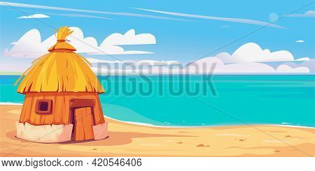 Bungalow House On The Sandy Beach. Maldives Clipart. Beautiful Clouds. Background For Cruise, Travel