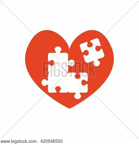 Autism Symbol. Red Heart With Puzzle Holes. Holes In The Form Of Puzzle Pieces. Vector Illustration