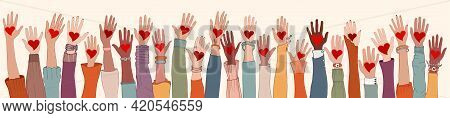 Large Group Of Diverse People With Heart In Hand. Arms And Hands Raised. Charity Donation And Volunt