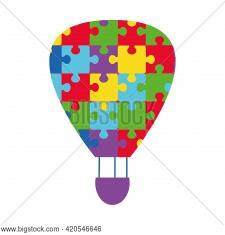 Autism Symbol. A Balloon With Puzzles Instead Of A Dome. Details Of The Puzzle. Help With The Psycho
