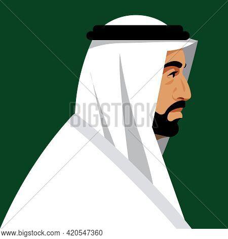 Adult Arab Business Man Wearing Uae Traditional Dress. Elderly Man With Beard. Male Portrait, Side V