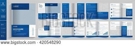 Minimal & Clean Geometric Design Of 16 Page Blue Color Template For Brochure, Flyer, Magazine, Catal