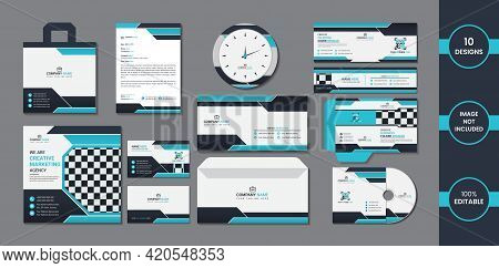 Stationary 10 In 1 Pack Design With Blue And Deep Cyan Color Simple Gradient Shapes.