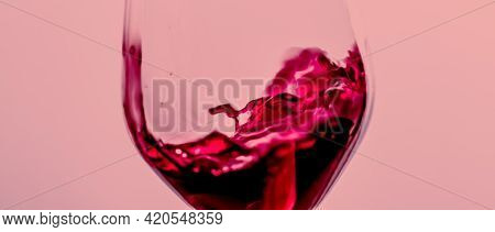 Red Wine In Crystal Glass, Alcohol Drink And Luxury Aperitif, Oenology And Viticulture Product.