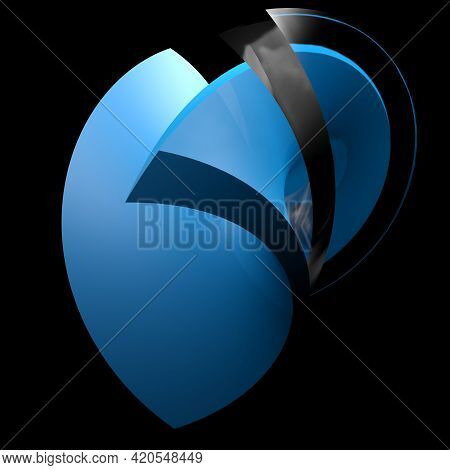 Blue Heart Shaped Abstract Icon With Red And Glass Surface On Black Background - 3d Rendering Illust